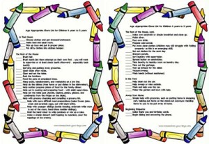 Age Appropriate Chore List for Children 4 years to 5 years