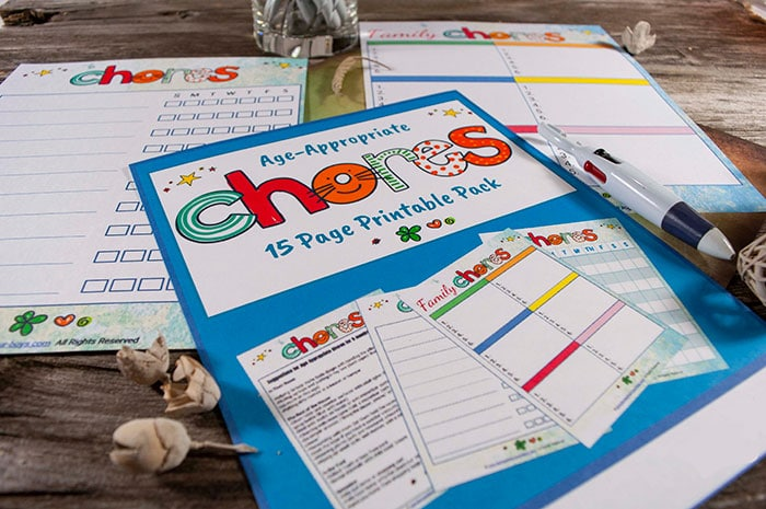 Want a chores list with chore suggestions by age and includes a FREE editable, printable chore chart template? Check out this age appropriate chore list!