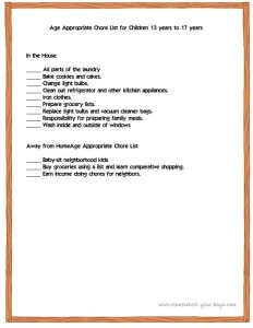 Age Appropriate Chore List for Children 13 years to 17 years