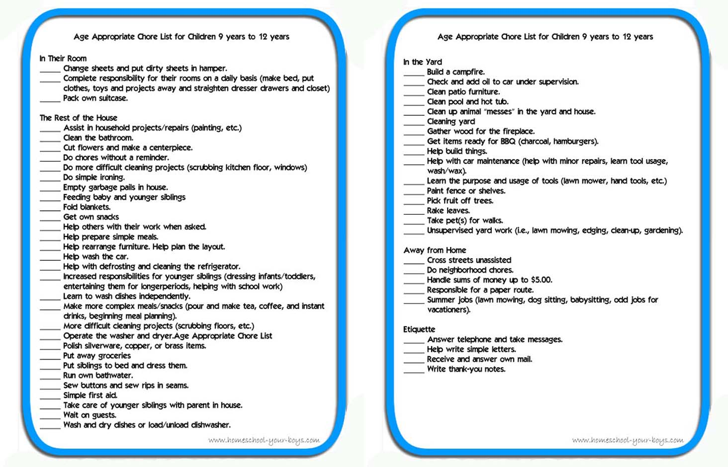 9 YO 10YO 11 FREE Printable Age Appropriate Chore List for Children 9 years to 12 years