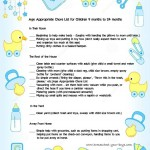 Printable Chore List for Children Ages 9 months to 2 years