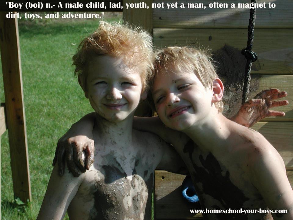 Boys in mud