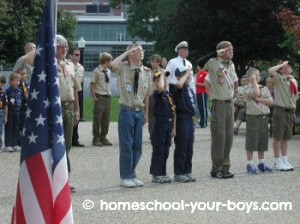 cub scouts saluting flag 9/11