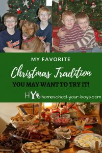 Got boys?!? In this post, I talk about one of our Christmas traditions which is a WIN-WIN for you AND your sons. Click through to see how to implement this in your family! | christmas tradition | boy mom | all day buffet |