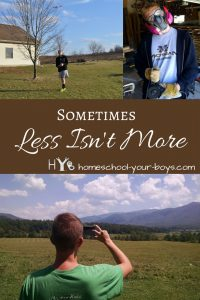 Trying to simplify your homeschool day? Before you do, read this advice from a mom who has been homeschooling 14 years. Click through to find out why sometimes less ISN'T more!   less isn't more   simplify homeschool day   delight directed learning  