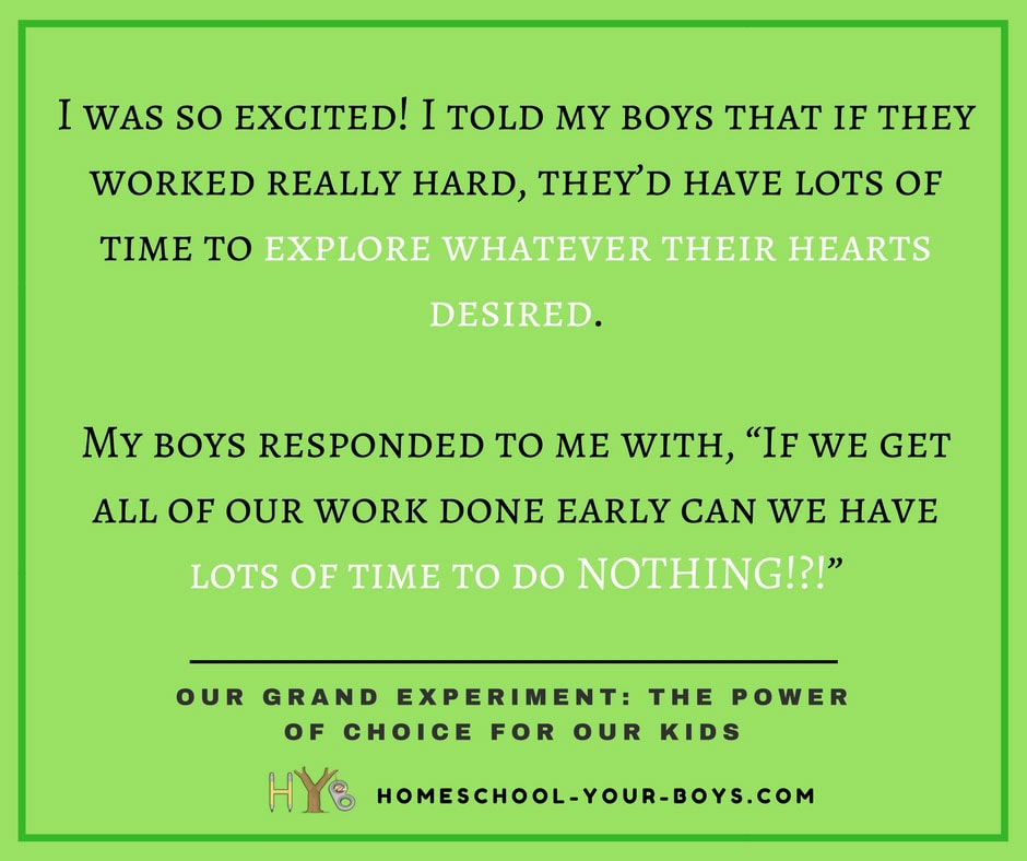 OUR GRAND EXPERIMENT: THE POWER OF CHOICE FOR OUR KIDS