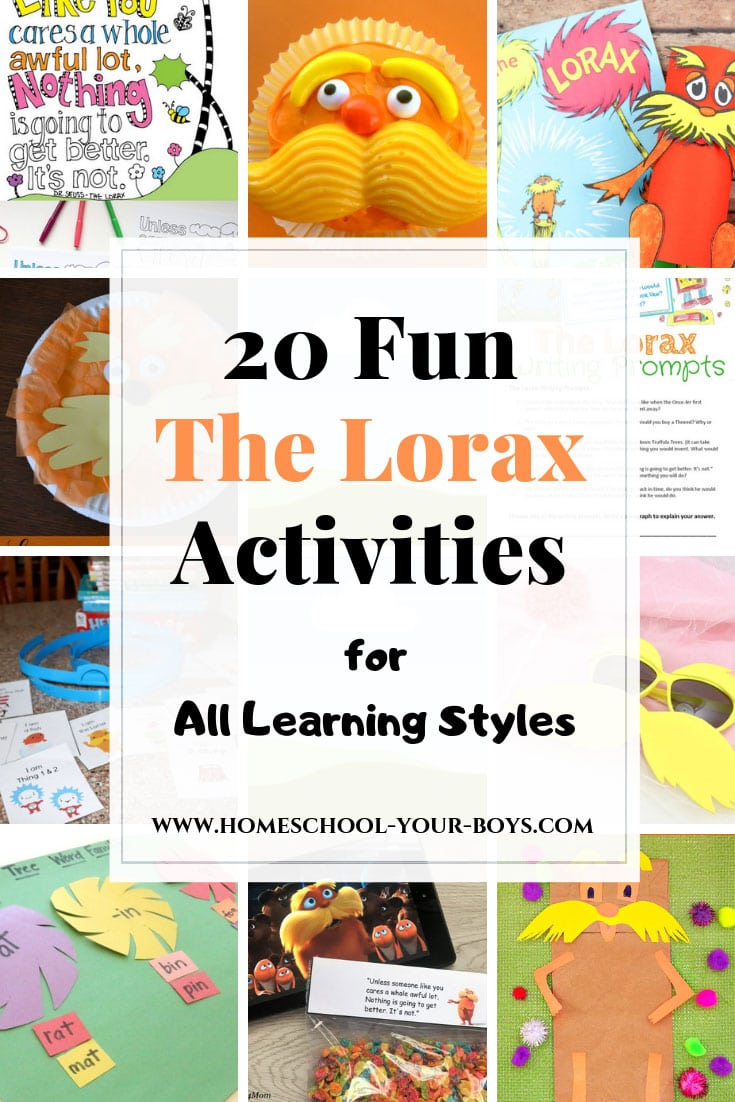 Looking for a variety of fun The Lorax activities? These ideas are perfect for celebrating DR. SEUSS's BIRTHDAY, EARTH DAY, and more. #thelorax #lorax #theloraxactivities #drseuss #drseussbirthday #earthday #earthdayactivities
